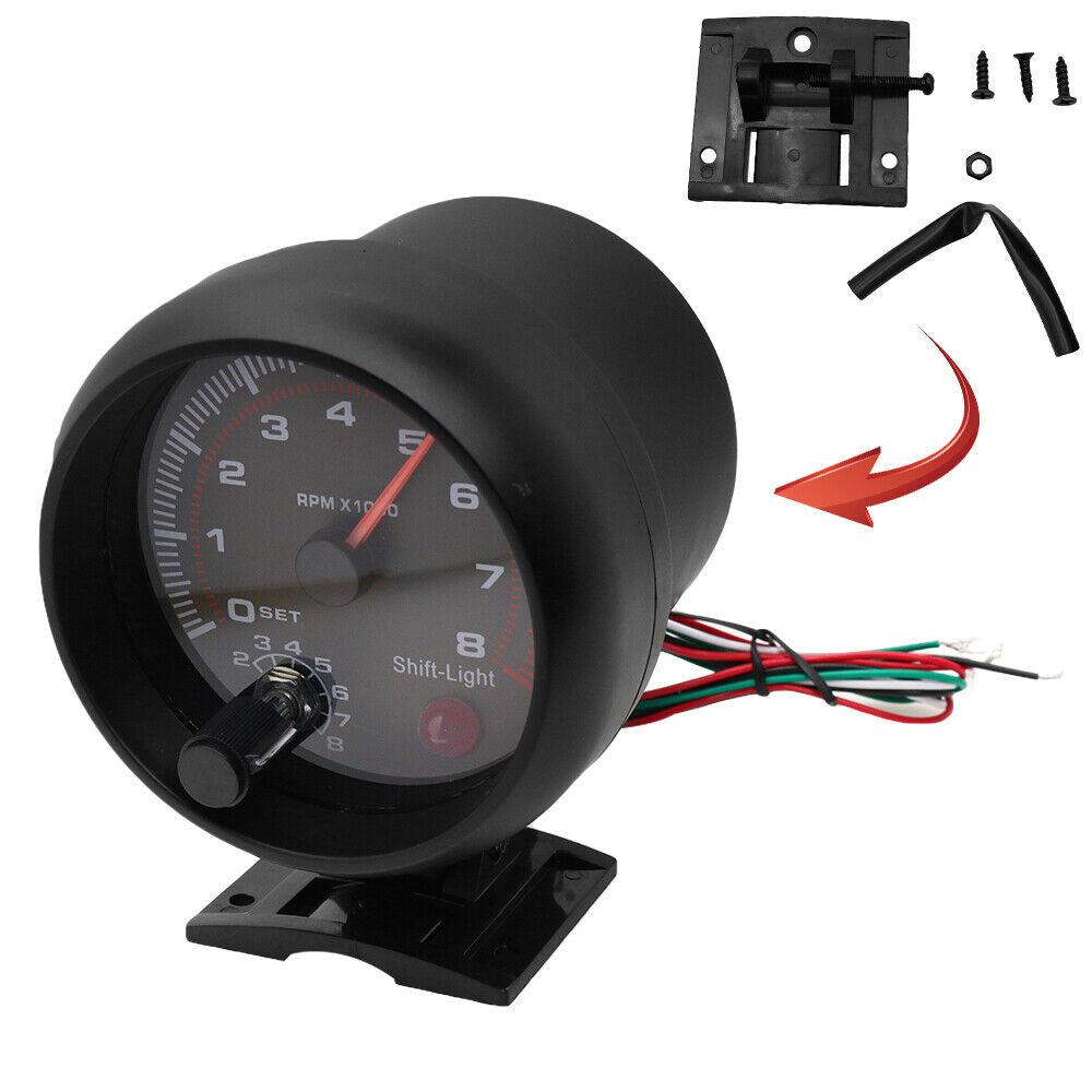 Universal Car 3.75/'/' RPM Tachometer Tacho Gauge Meter W//Shift Light  12V 0-8000