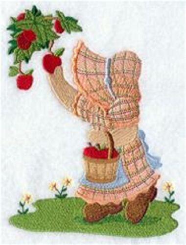 "Pre Order Sunbonnet Sue Picks Apples 9 x 12/"" Embroidered Quilt Block"
