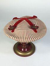 Vintage 1950's 50s Red & Ivory UNIQUE saucer hat w/bullion moths & velvet ribbon