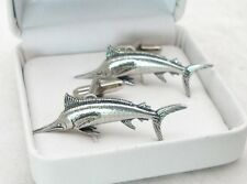 Marlin Fish Cufflinks in Fine English Pewter, fishing, Handmade, Gift Boxed