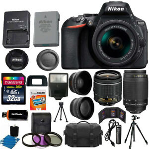 Nikon D5600 Black DSLR Camera w/ 18-55mm VR + 70-300mm + 32GB Top Value Bundle 806802604015