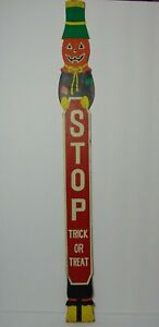 Vintage-70s-Jack-O-Lantern-Stop-Trick-or-Treat-Halloween-Wood-Advertising-SIGN