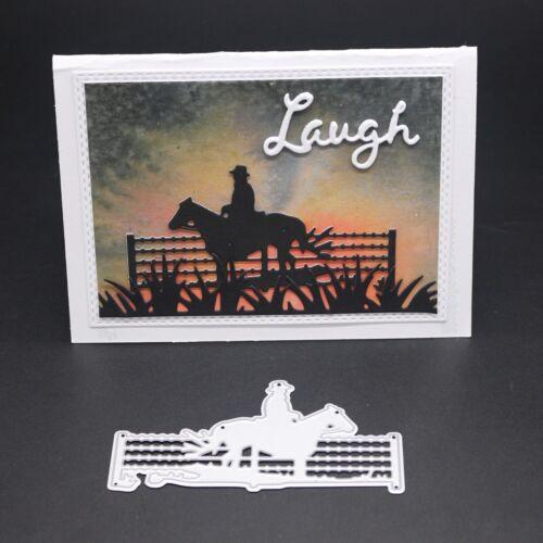Metal Carbon Steel Cutting Dies Horse Riding Cowboy Frame DIY Craft Scrapbooking