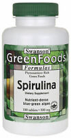 Swanson 100% Certified Usda Spirulina 500 Mg - 180 Tablets Blue Green Algae