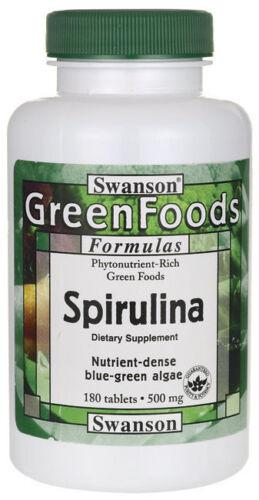 Swanson-100-Certified-Spirulina-500-mg-180-Tablets-Blue-Green-Algae-SUPERFOOD