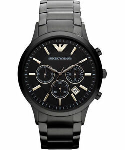EMPORIO-ARMANI-Classic-AR2453-Chronograph-Black-Dial-Men-039-s-Wrist-Watch