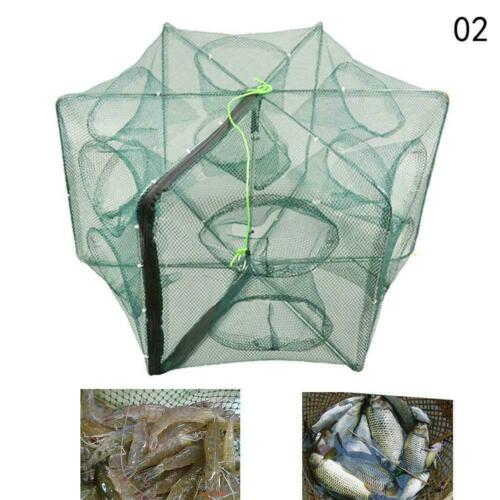 Automatic Fishing Nets 6 Hole Fishing Trap Folded Hexagon Mesh Shrimp Cast O4E8