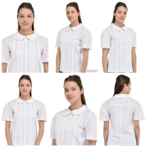 Peter Pan Collar Short Sleeve White BlouseCotton Lane