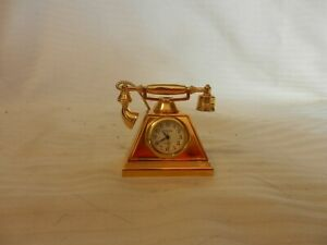 Collectible-Timex-Miniature-Gold-Tone-Metal-Rotary-Telephone-With-Clock