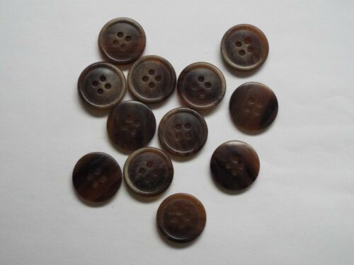 10pc 15mm Dark Brown Mock Wood Coat Shirt Suit Cardigan Knitwear Button 4045