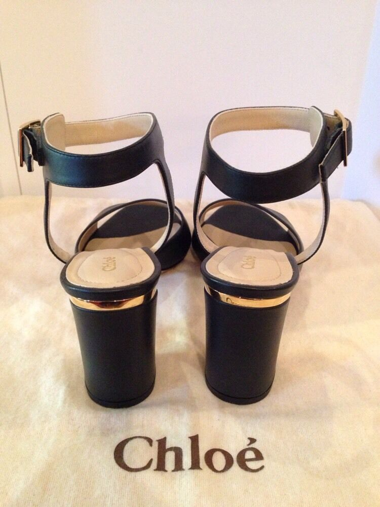 Chloe Black Leather Heeled Ankle Strapped  shoes shoes shoes Sz39 Us 8  895 cfe731