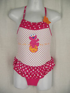 fac81ee254 BNWT Girls Sz 1 Elmo Pretty Pink Polka Dot   Ruffle One Piece Swim ...