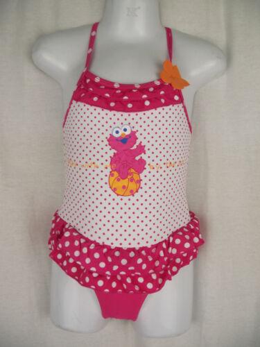 BNWT Girls Sz 2 Elmo Pretty Pink Polka Dot /& Ruffle One Piece Swim Suit Bathers