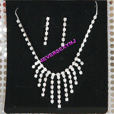 Sexy Rhinestone Fringe Necklace Set With Earrings