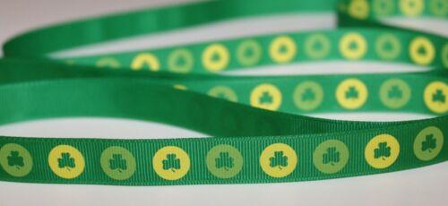 St patricks day irlandais lucky clover vert /& jaune gros-grain 16mm ruban st paddy