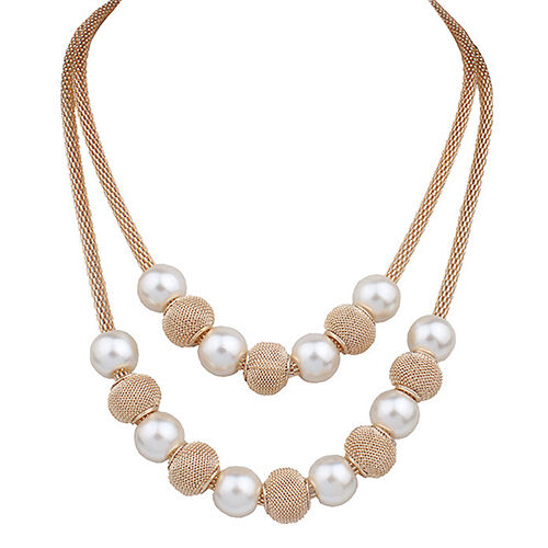 EG/_ Charming Women/'s Double Layers Mesh Chain Round Faux Pearl Ball Charms Neckl