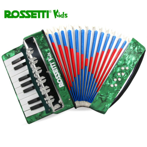 Rossetti Kidz RK17 17 Key 8 Bass Buttons GREEN Piano Accordion For Kids//Students