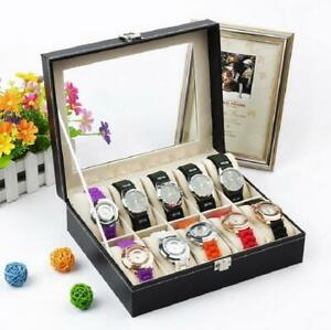 10 Slots Watch Box Leather Display Case Organizer Glass Jewelry Storage Black US
