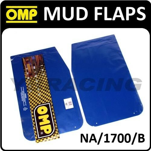 NA//1700//B OMP RACING RALLY MUD FLAPS 50x30mm in BLUE POLYETHYLENE 1.5mm 1 PAIR