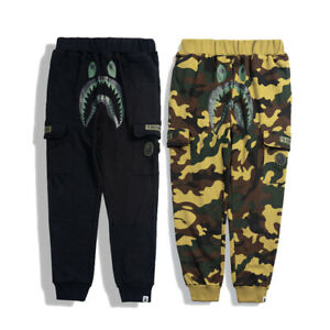Bape-A-Bathing-Ape-Shark-Head-Men-Camo-Black-Sweatpants-Jogging-Pants-Trousers