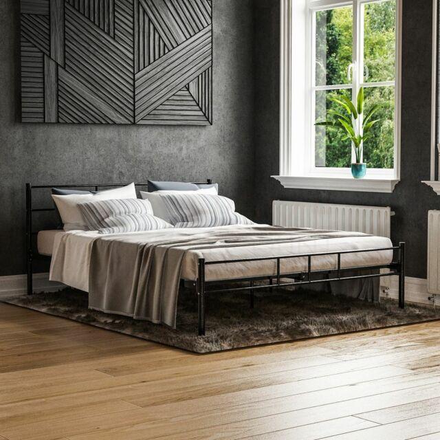 Vida Designs Dorset 5ft King Size Bed, Wood And Black Metal Bedroom Furniture
