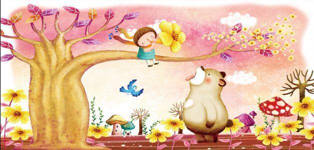 3D Bären, Bäume, Blumen 266 Fototapeten Wandbild Fototapete BildTapete Familie