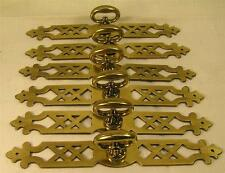 "5 Vintage Style Brass Handles Pulls Knobs 6"" long Cabinet Furniture Hardware"