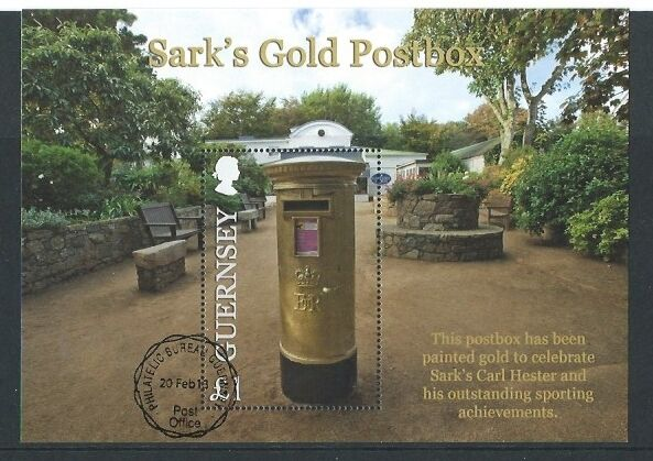 GUERNSEY 2013 SARK'S GOLD POSTBOX MINIATURE SHEET FINE USED, OLYMPICS