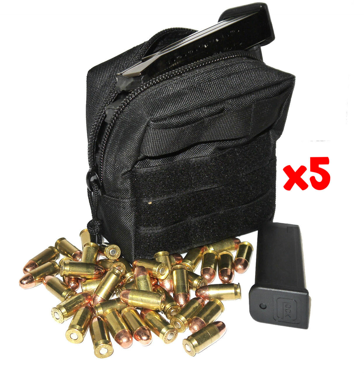 (5) .357 MAG AMMO MODULAR MOLLE UTILITY POUCH FRONT HOOK LOOP STRAP .357 357