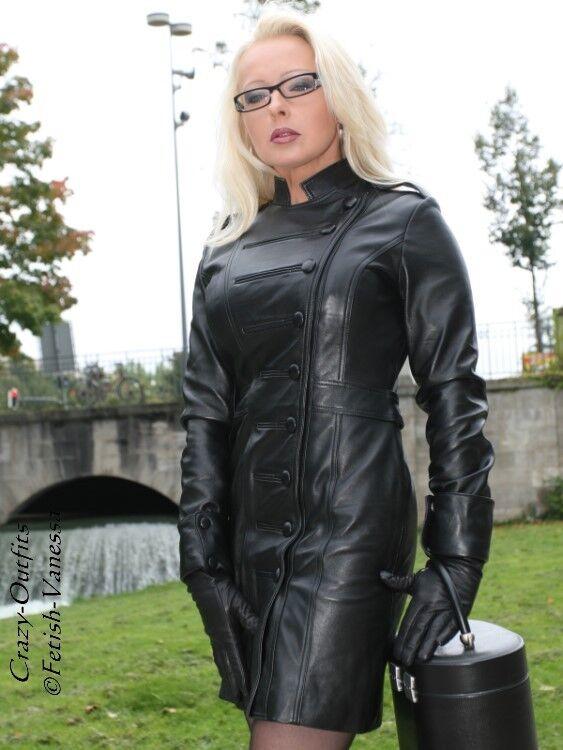 Lederkleid black Minikleid Langarm Uniform-Style Größe 32 - 58 XS - XXXL