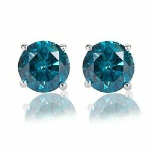 Valentine-Special-1-00CT-Round-Blue-Diamond-14K-White-Gold-Over-Stud-Earrings