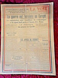 Journal-du-9-mai-1945-LA-VOIX-REPUBLICAINE-de-Haute-Loire-original-encadre