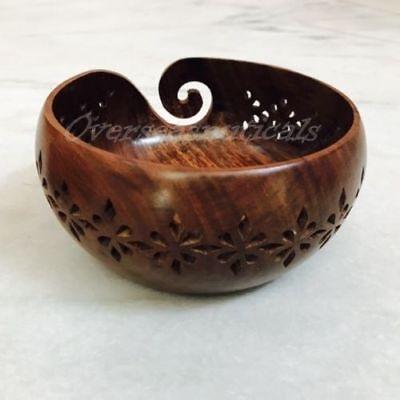 Handmade Wooden Yarn Bowl Holder Premium Mango Wood Bowl Gift For Mother