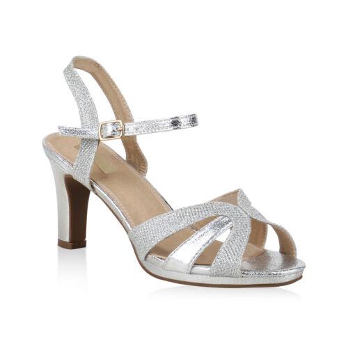 Damen Riemchensandaletten Glitzer Party Sandaletten High Heels 825620 Schuhe