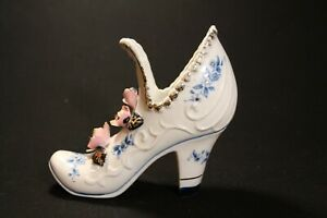Vintage-Pink-amp-Blue-Floral-Shoe-Boot-High-Heel-Porcelain-Ceramic-Gold-Trim