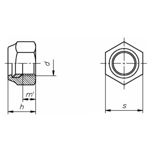 M 10 verzink Stahl Klasse 10 galv 10x DIN 985 Sechskantmuttern mit Klemmteil