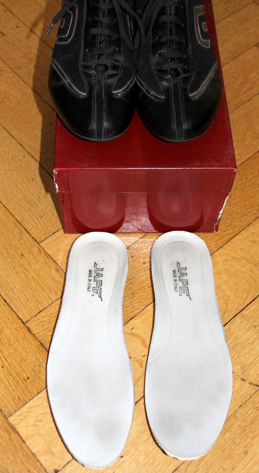 Jape Sneaker Turnschuhe Gr. 41 schwarz silber wie echtes Leder NP 139,90 wie silber neu f7bc91