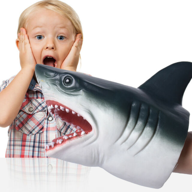Realistic Shark Hand Puppet Soft Plastic Mouth Free ...