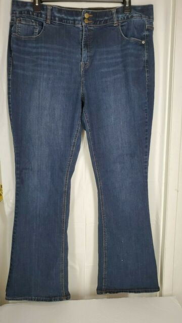 Lane Bryant High Rise Boot Jeans Womens sz 22 Tighter Tummy Long Dark Blue Wash