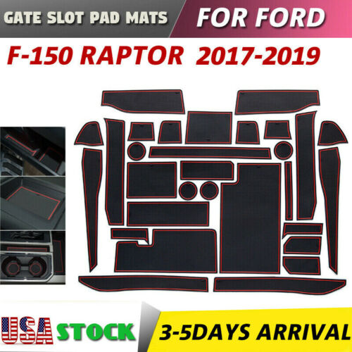 Red Gate slot pad For Ford F-150 Raptor Accessories Anti-Slip Mat 2017-2019