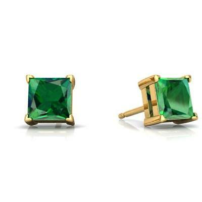 2 Ct Emerald Princess Cut Stud Earrings 14Kt Yellow Gold