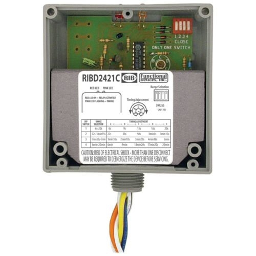 RIB D2421C Enclosed Time Delay Pilot Relay 10 Amp SPDT with 24 Vac//dc//120-277 V