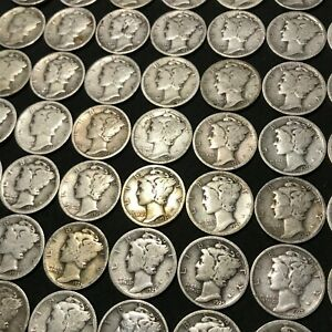 1928 S MERCURY DIME 10C AVERAGE CIRCULATED FULL ROLL 50 COINS