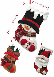 New Quality Xmas Stockings Santa Snowman Reindeer Father Christmas ...