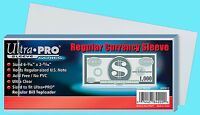 100 Ultra Pro Regular Size Currency Soft Poly Sleeve Holder Storage Us Note Bill