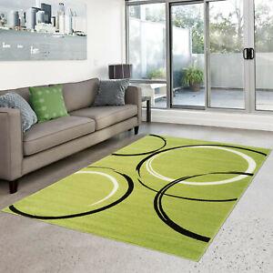 Teppich-Modern-Flachflor-Moda-Kreis-Muster-Gruen-Creme-Schwarz-in-80x300