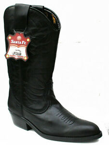 Mens-Black-Genuine-Leather-Western-Cowboy-Boots-Dakota