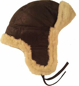 c8c0dc225e6 Image is loading UNICORN-Real-Sheepskin-Leather-Aviator-Trapper-Hat-Brown-