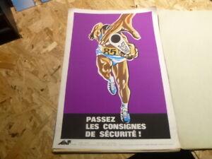 Affiche-Serigraphie-Prevention-Securite-70-039-s-AINF-RARE-sport-course