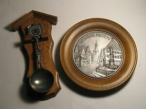 Winnenden Germany Tin Souvenirs Wall Plate and Spoon Mounted on Wood